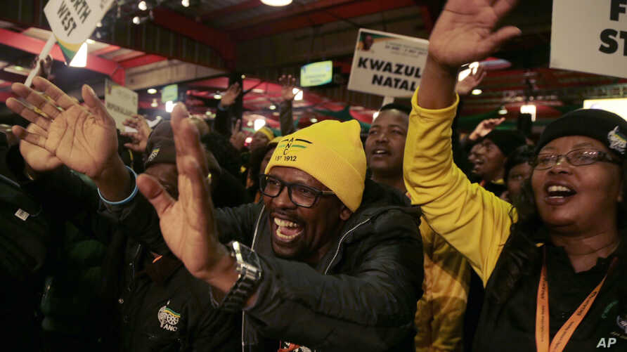 Party delegates sing,  during the African national Congress policy conference in Johannesburg, South Africa,  June 30, 2017.