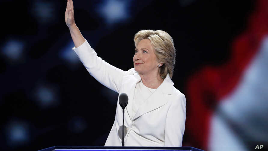 Democratic presidential nominee Hillary Clinton waves to delegates before speaking during the final day of the Democratic National Convention in Philadelphia, July 28, 2016.