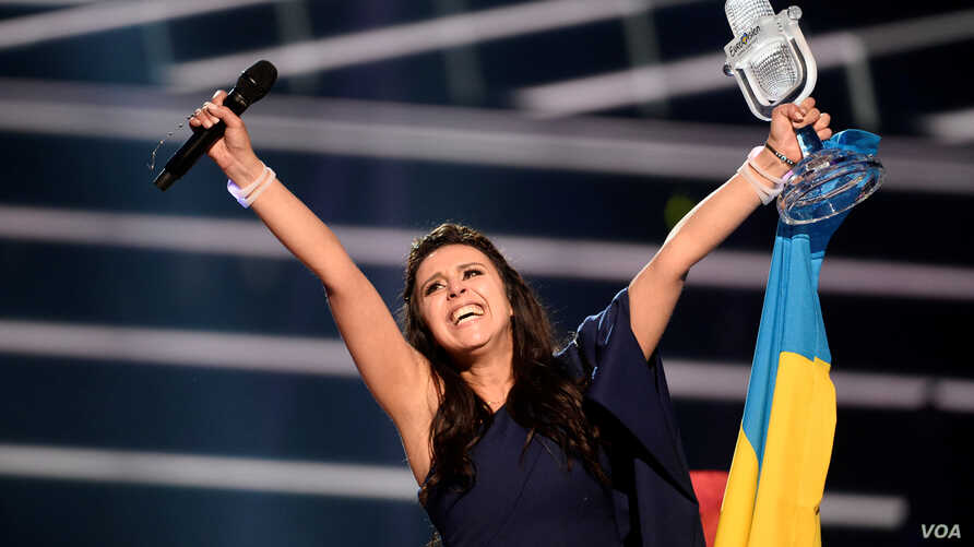 Ukraine's Jamala reacts on winning the Eurovision Song Contest final at the Ericsson Globe Arena in Stockholm, Sweden, May 14, 2016.