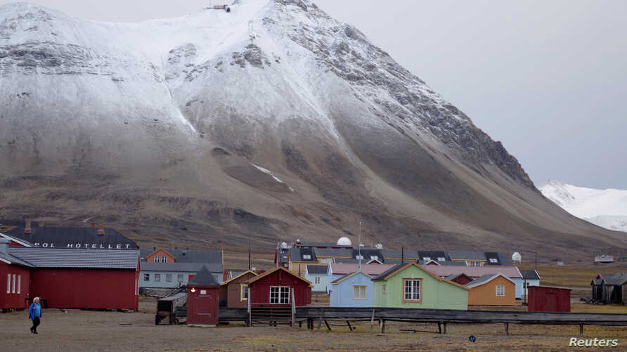 FILE - A view shows the Ny-Aalesund research station, the world's northernmost community, on the Arctic archipelago of Svalbard, Norway.