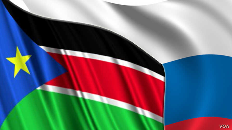Photo montage of South Sudan and Russian flags