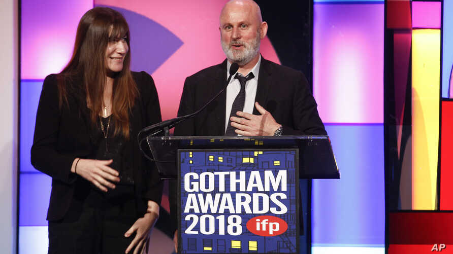 "2""The Rider"" producers Mollye Asher, left, and Bert Hamelinck, accept the Best Feature Film award at the 28th annual Independent Filmmaker Project's Gotham Awards on Nov. 26, 2018, in New York."