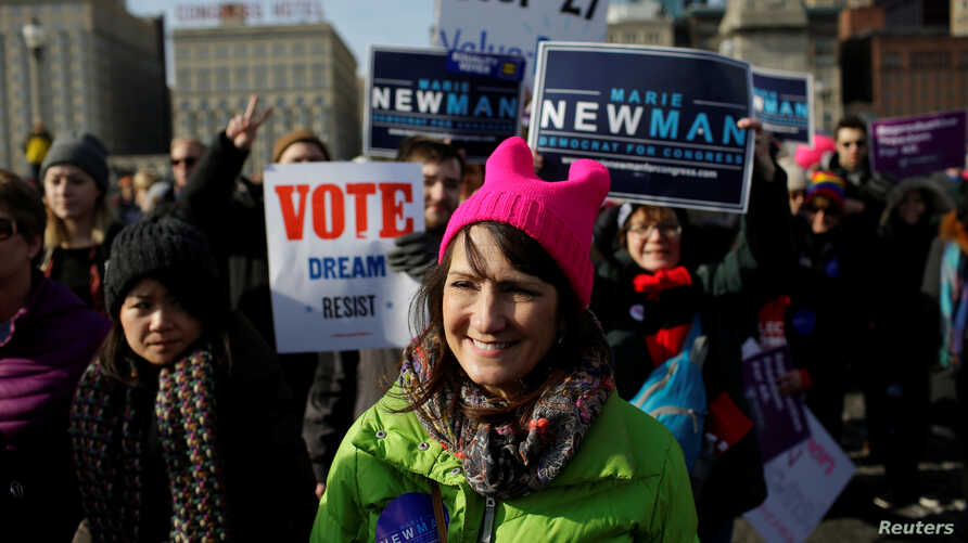 FILE - Illinois' 3rd Congressional District candidate for Congress, Marie Newman, attends the Women's March in Chicago, Illinois, U.S., Jan. 20, 2018.