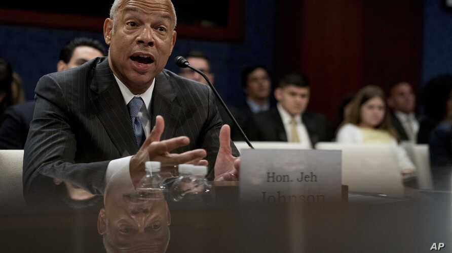 Former Homeland Security Secretary Jeh Johnson testifies to the House Intelligence Committee task force on Capitol Hill in Washington, June 21, 2017, as part of the Russia investigation.
