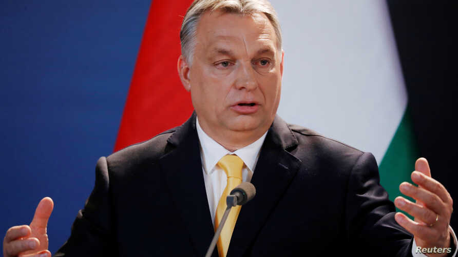 Hungarian Prime Minister Viktor Orban speaks during a press conference in Budapest, Hungary, April 10, 2018.