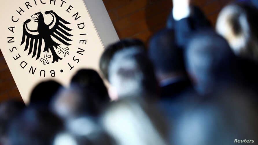 FILE - The logo of the German Federal Intelligence Agency (BND) is pictured at the 60th anniversary of the founding of the BND in Berlin, Nov. 28, 2016.
