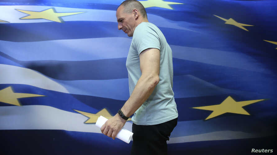 Greek Finance Minister Yanis Varoufakis arrives to make a statement in Athens, Greece July 5, 2015.