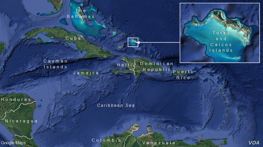 Turks and Caicos Islands, in the Caribbean