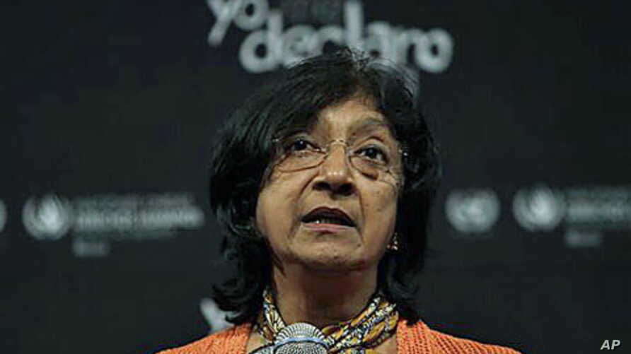 Navi Pillay, United Nations High Commissioner for Human Rights, speaks during a news conference in Mexico City, Mexico, July 2011. (file photo)