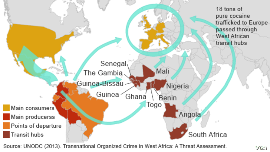 The flow of cocaine through West Africa