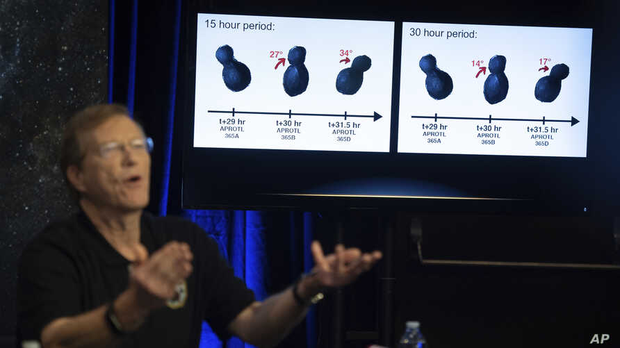New Horizons project scientist Hal Weaver, of the Johns Hopkins University Applied Physics Laboratory, speaks about new data received from the New Horizons spacecraft during a press conference after the spacecraft completed a flyby of Ultima Thule, J