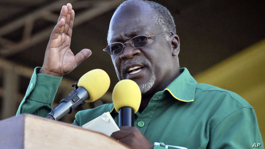 FILE - President John Pombe Magufu gestures, during a rally in Dar es Salaam, Tanzania, Oct. 23, 2015.