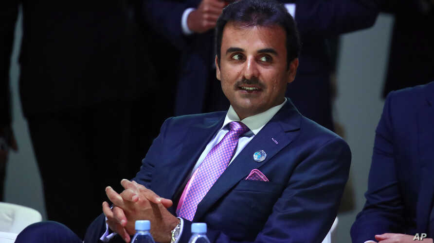Qatar's Sheikh Tamim bin Hamad Al Thani attends the Paris Peace Forum as part of the commemoration ceremony for Armistice Day, in Paris, Nov. 11, 2018.