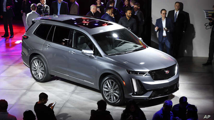 A three-row Cadillac XT6 crossover SUV is shown after being unveiled during media previews for the North American International Auto Show in Detroit, Sunday, Jan. 13, 2019.