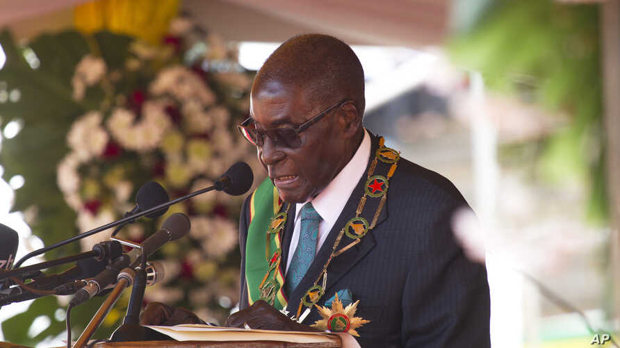 Zimbabwean President Robert Mugabe delivers his speech during the country's 37 Independence celebrations in Harare, April, 18, 2017.