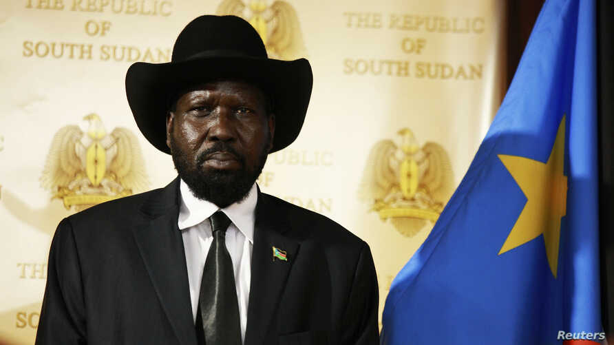 South Sudan's President Salva Kiir addresses a joint news conference with his Sudan's counterpart Omar Hassan al-Bashir in Juba April 12, 2013.