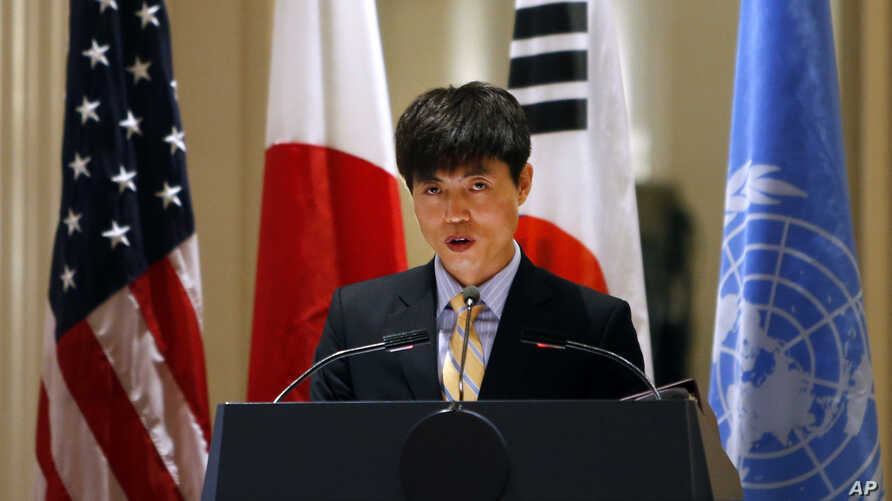 FILE - North Korean human rights activist Shin Dong-hyuk delivers remarks during an event on human rights in North Korea at the Waldorf Astoria Hotel, in New York.