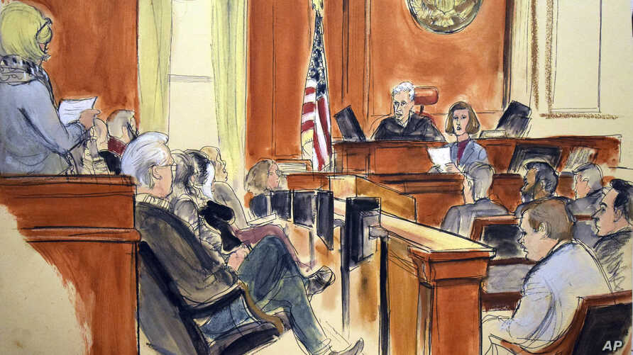 In this courtroom sketch, the jury foreperson reads the verdict as defendant Mehmet Atilla, foreground far right, listens at the United States Courthouse in New York, Jan. 3, 2018. Atilla was convicted on charges that he took part in a complex scheme
