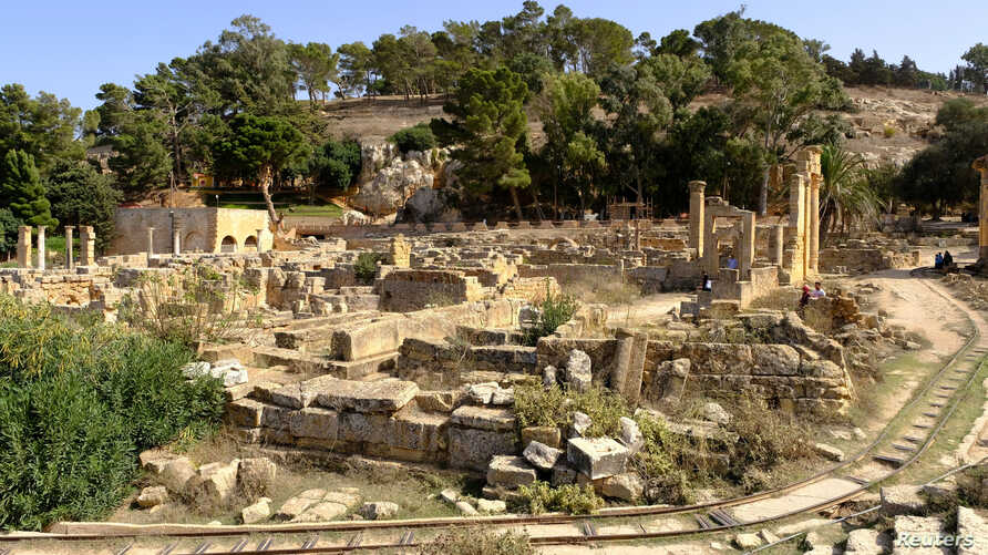 A general view of the ancient ruins of the Greek and Roman city of Cyrene, in Shahhat, Libya, Oct. 20, 2018.