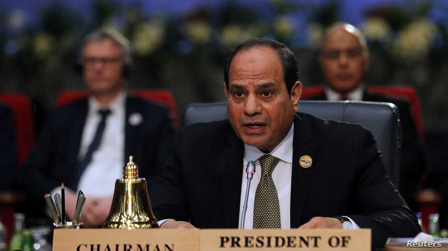 Egyptian President Abdel Fattah el-Sissi attends a summit between Arab league and European Union member states, in the Red Sea resort of Sharm el-Sheikh, Egypt, Feb. 24, 2019.