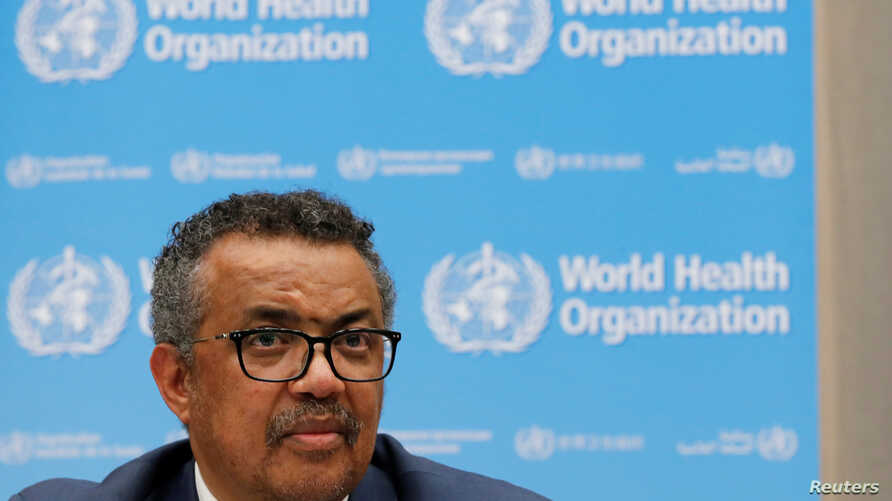 Director-General of the World Health Organization (WHO) Tedros Adhanom Ghebreyesus attends a news conference at the organization's headquarters in Geneva, Switzerland, May 14, 2018.