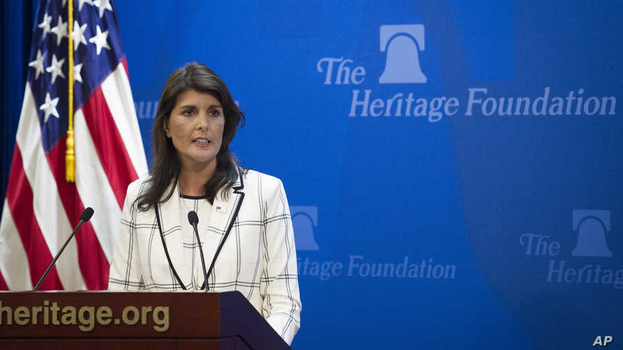 U.S. Ambassador to the United Nations Nikki Haley speaks at The Heritage Foundation about the U.S. withdrawal from the U.N. Human Rights Council, in Washington, July 18, 2018.