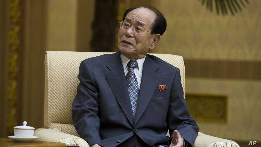 FILE - Kim Yong Nam, head of the Presidium of the Supreme People's Assembly of North Korea, at the Mansudae Assembly Hall in Pyongyang, North Korea, Oct. 4, 2013.