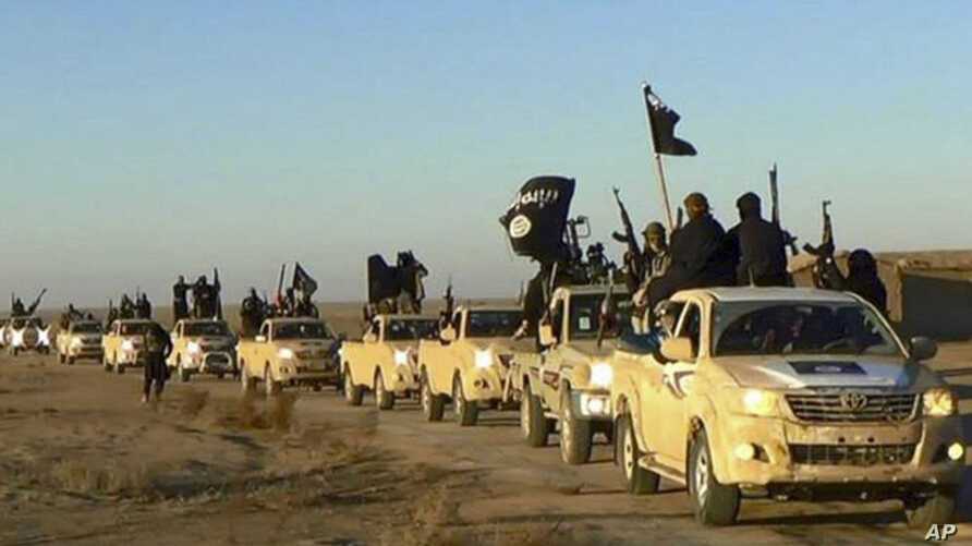 FILE - In this undated file photo released by a militant website, which has been verified and is consistent with other AP reporting, militants of the Islamic State group hold up their weapons and wave its flags on their vehicles in a convoy to Iraq,
