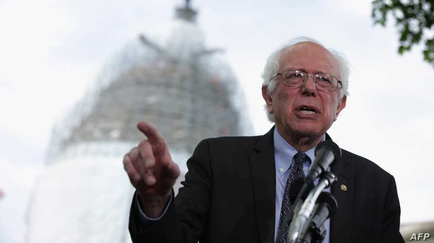 U.S. Sen. Bernard Sanders (I-VT) speaks on his agenda for America during a news conference on Capitol Hill, April 30, 2015, in Washington, D.C.