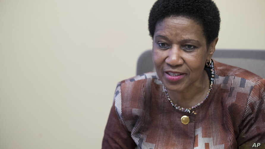 FILE - Phumzile Mlambo-Ngcuka, United Nations Under-Secretary-General and Executive Director of U.N. Women, speaks during an interview with The Associated Press in New York, March 7, 2018.