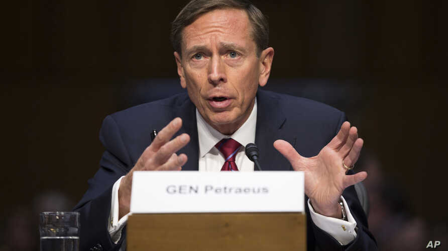 Former CIA Director David Petraeus testifies on Capitol Hill in Washington, Tuesday, Sept. 22, 2015, before the Senate Armed Services Committee hearing on Middle East policy.