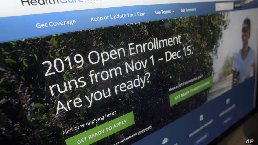 The HealthCare.gov website on a computer screen in New York, Oct. 23, 2018. A U.S. federal judge Friday ruled the Affordable Care Act unconstitutional.