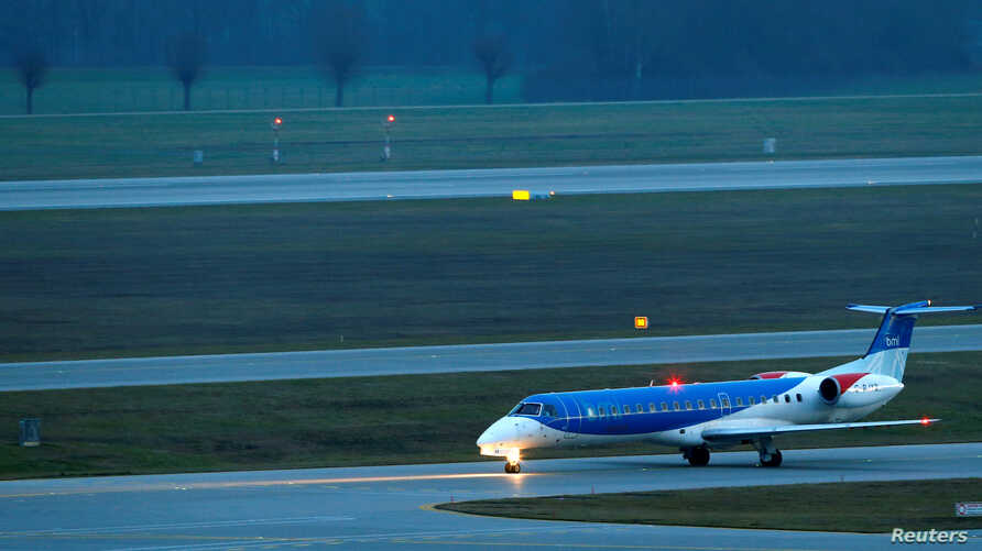 FILE - A British Midland Regional Embraer ERJ-145EP aircraft is seen at the international airport in Munich, Germany, Jan. 9, 2018.