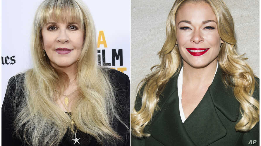 "In this combination photo, Stevie Nicks attends the premiere of the ""The Book of Henry"" in Culver City, California, June 14, 2017, left, and LeAnn Rimes attends the 82nd Annual Rockefeller Center Christmas Tree Lighting Ceremony in New York, Dec. 3,"