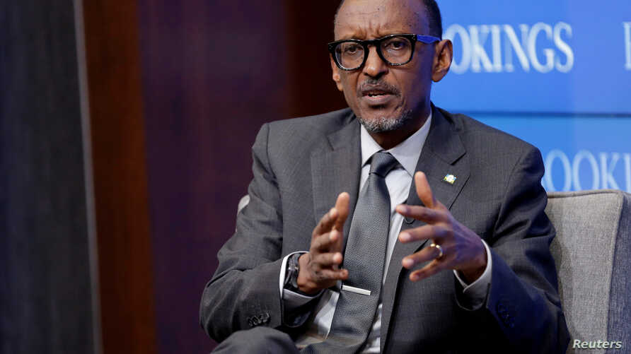 "FILE - Rwandan President Paul Kagame speaks about ""Flagship Reforms for a More Effective African Union,"" at the Brookings Institution in Washington, Sept. 21, 2017."