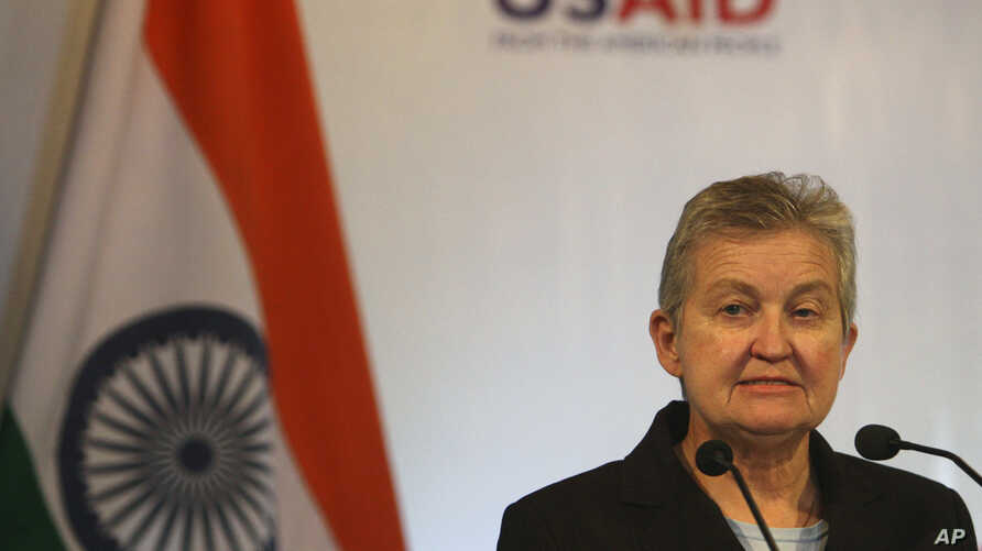 FILE - U.S. Ambassador to India Nancy Powell speaks at an event,  in New Delhi, India, July 10, 2012.