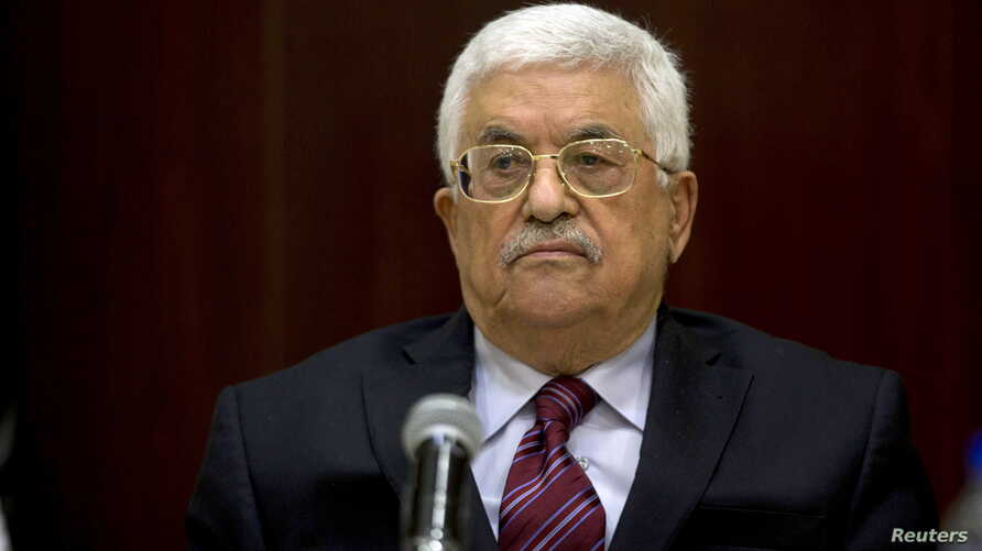 Palestinian President Mahmoud Abbas chairs a Palestinian Liberation Organization (PLO) executive committee meeting in the West Bank city of Ramallah, Aug. 22, 2015.