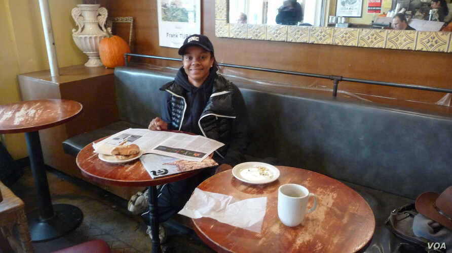 Like many New Yorkers, Rashawn Austin feels renewed gratitude for family, shelter and other blessings this Thanksgiving in the wake of Hurricane Sandy's devastation. (VOA/A. Phillips)
