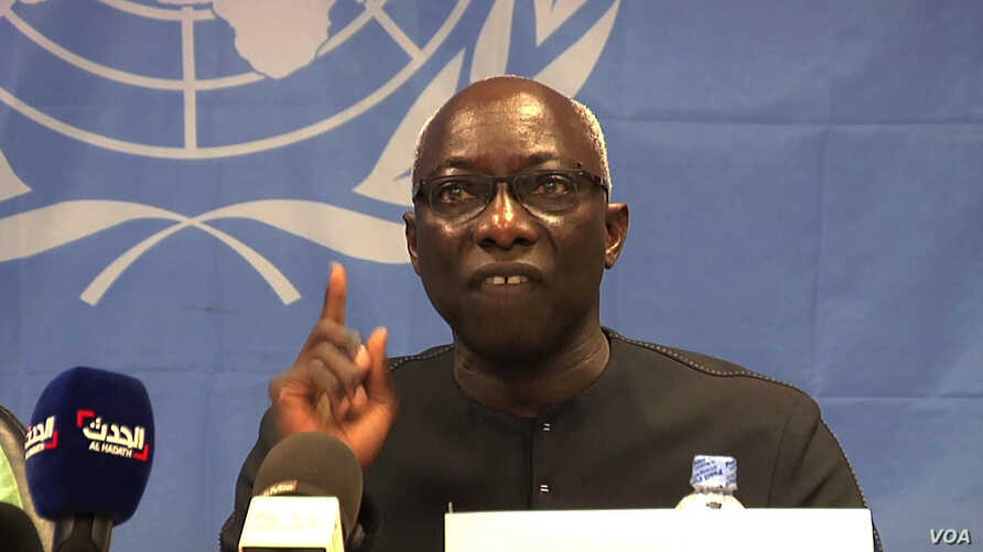 Adama Dieng, the special advisor to the UN Secretary General for the prevention of genocide, addresses a news conference in Juba, South Sudan, on Wednesday, April 30, 2014.visit the UN camp in Bor where scores of civilians were killed in an attack tw...