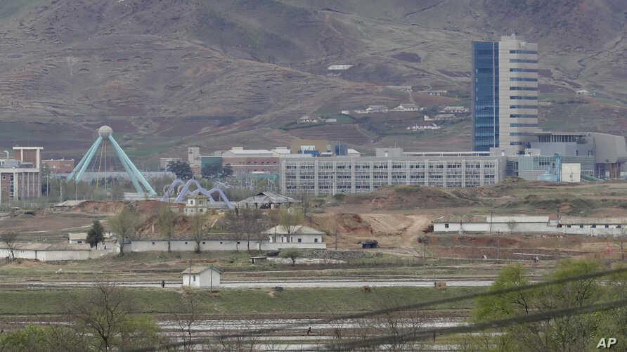 FILE - The Kaesong industrial complex in North Korea is seen from the Taesungdong freedom village inside the demilitarized zone during a press tour in Paju, South Korea, April 24, 201,. The rival Koreas have opened their first liaison office near the...