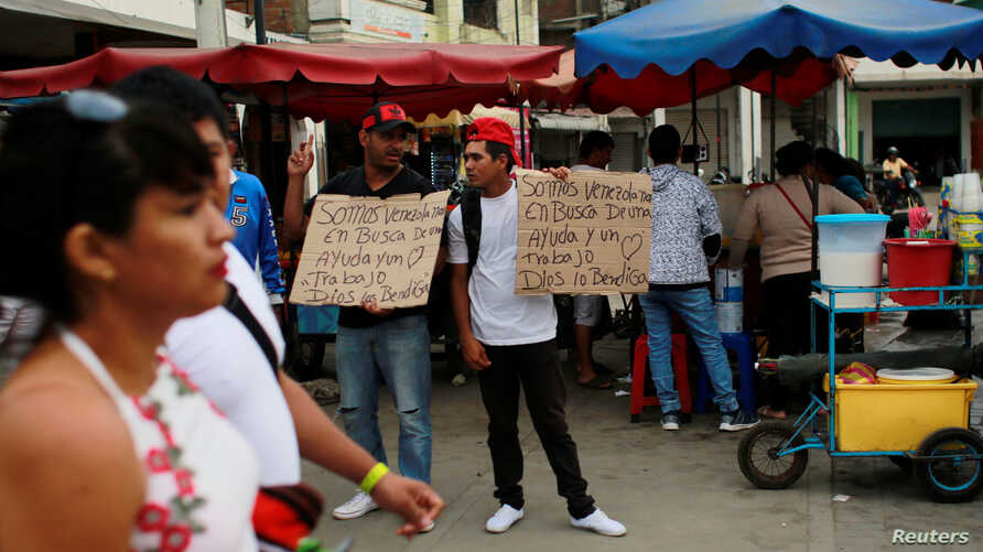 """Venezuelan migrants hold signs that read """"We are Venezuelans looking for help and a job, God bless you"""" at the border with Ecuador, in Tumbes, Peru, Aug. 24, 2018."""
