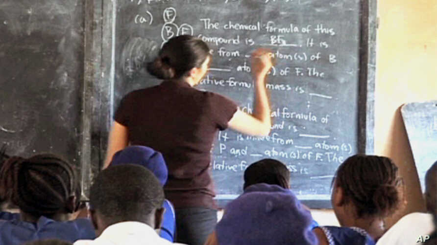 Amanda Pease, a science teacher,  is one of the first volunteers to work in Sierra Leone in over a decade
