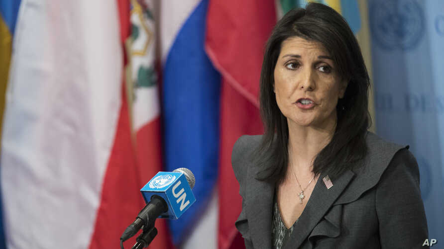 """U.S. Ambassador to the United Nations Nikki Haley speaks to reporters, Jan. 2, 2018, at U.N. headquarters. She said the """"civilized world"""" must remain vigilant against North Korean weapons development. """"We will never accept a nuclear North Korea."""""""