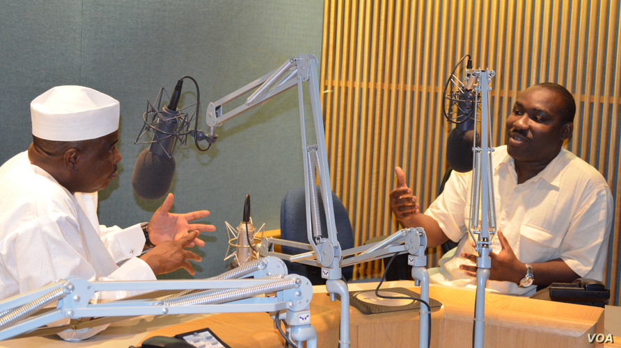 Honorable Aminu Waziri Tambuwal (l) Speaker of Nigeria's House of Representatives in an interview with VOA's Peter Clottey