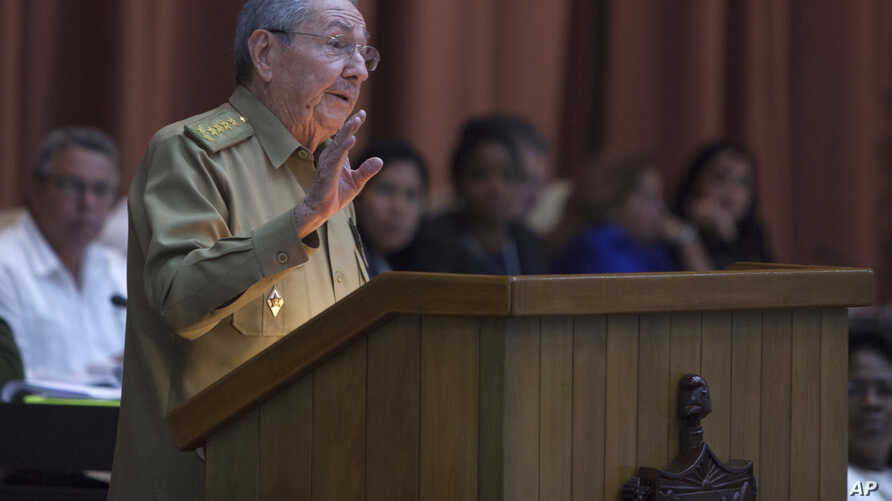 Cuba's President Raul Castro addresses the National Assembly in Havana, Cuba, Dec. 27, 2016.