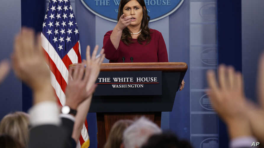 White House press secretary Sarah Huckabee Sanders speaks during the daily press briefing at the White House, April 10, 2018, in Washington.