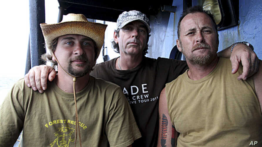 Activists from Forest Rescue - Geoffrey Owen Tuxworth, 47, Simon Peterffy, 44, and Glen Pendlebury, 27- aboard the Sea Shepherd Conservation Society's vessel, the Steve Irwin, in Freemantle, Australia (file photo).