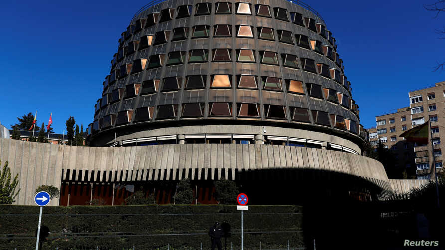 FILE - The Spanish Constitutional Court building is seen in Madrid, Spain.