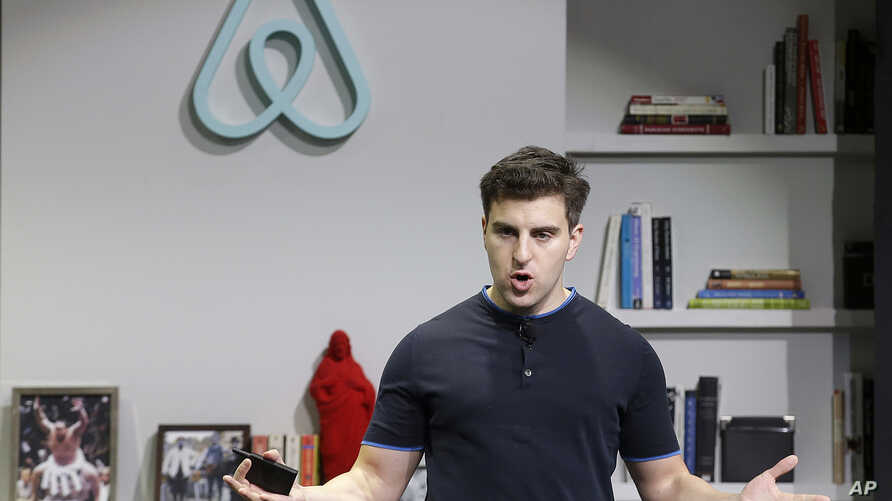 Travel-Airbnb-Racism: FILE - In this April 19, 2016 file photo, Airbnb co-founder and CEO Brian Chesky speaks during an announcement in San Francisco. Airbnb on Thursday, Sept. 8  apologized for its slow response to accusations of racism and outlined