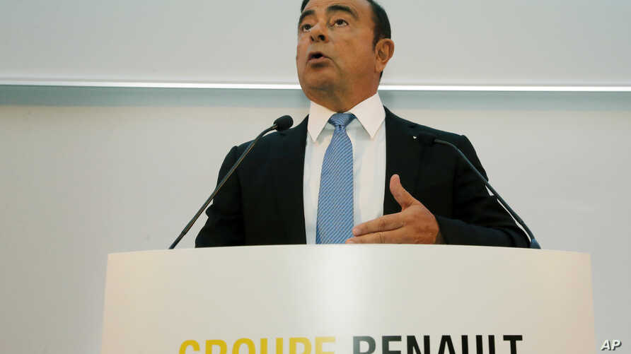 Renault Group CEO Carlos Ghosn speaks during a media conference at La Defense business district, outside Paris, France, Oct. 6, 2017.